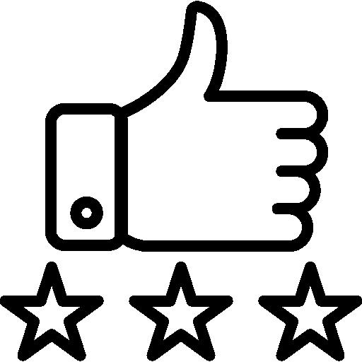 ícone de mão com dedo polegar levantado e três estrelas embaixo